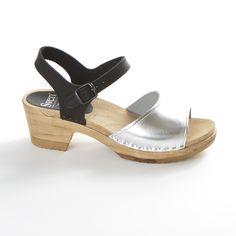 Two Tone - Silver Metallic & Black Nu Buc - Open Toe Sandal - New Sven Style # 7323
