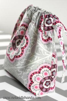 Cute Fabric Drawstring Bags for Neighbor or Teacher Gifts By NotSoIdleHands.com