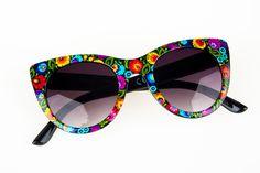 Okulary przeciwsłoneczne FOLK kwiaty łowickie - czarne