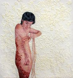 Artist: Ana Teresa Barboza ---- Layers (background to foreground): White fabric / Stitching embellishment, pattern detail / Printed figure / Stitching embellishment, color that melds stitching together / Loose thread ---- What I enjoy is the meld of flat and 3D surfaces as well as the high quality print of the figure to show detail.
