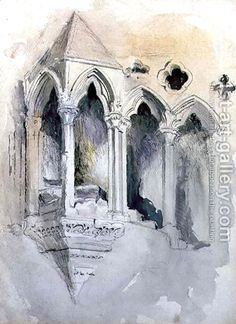 Architectural Drawings Giclee Print: A Gothic Stairway in Chester Cathedral by John Ruskin : - Cathedral Architecture, Gothic Architecture, Classical Architecture, Architecture Design, Painting Gallery, Art Gallery, Chester Cathedral, John Ruskin, A Level Art