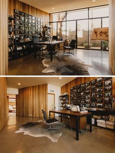 this study has a wall of windows allowing natural light to fill the space allowing natural light fill