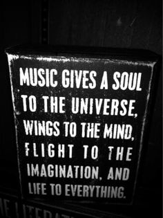 Music Quote, music gives a soul to the universe, wings to the mind, and flight to the imagination. What a wonderful quote.