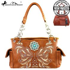 Montana West Handbag Concho Collection Conceal carry Satchel Purse Brown…