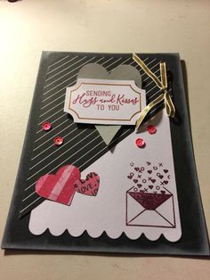 An alternative to the January 2018 Heartfelt Love Notes Paper Pumpkin Kit. Used the other part for a bookmarker so I threw this together. Edged the black paper with whisper white on the outside and the inside of the card as well. Valentine Day Cards, Valentines, Stampin Up Paper Pumpkin, Pumpkin Cards, Paper Cards, Diy Cards, Get Well Cards, Note Paper, Paper Decorations
