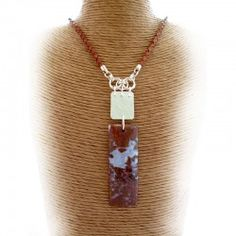 Indonesian Agate Gemstone and Sterling Silver Necklace Hallmarked