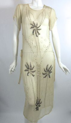 Sheer Ivory Silk Beaded Dress with Fringed Palm Trees and Deco Coconuts circa 1920s - Dorothea's Closet Vintage