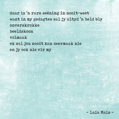 Laia Mais … ter wille van 'n nagedagtenis – Woorde was nog altyd my redding. Wanneer die lewe en liefde sy gatkant wys, bly ek altyd terugkeer na my verweerde dagboeke met traanstrepe, wynspatsels en verbeeldingsvlugte van 'n skrywershart. Ek het altyd bly skribbel. Op strokies en papiertjies. Op die agterkant van skoolboeke en ook die binnekamers van my hart (waar net ek dit kon lees). Ek het min om agter te laat wanneer ek eendag die Doodsengel high-five en hierdie verruklike wêreld groet…