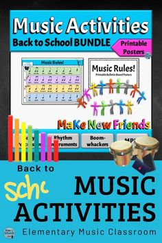 Start the new school year right with these awesome Back to School music activities & resources. The BUNDLE includes music songs, movement, & music icebreaker games, plus printable music classroom rules posters. By learning music classroom rules set to Orff rhythm patterns, students will practice music skills on day 1. First day of school music lesson plans are done! With these fun music activities, students will be singing, moving, and interacting. #elementarymusic #musiceducation #backt Preschool Music Lessons, Music Activities For Kids, Music Lesson Plans, Literacy Activities, Classroom Rules Poster, Music Classroom, Learning Music, Music Education, Fun Music