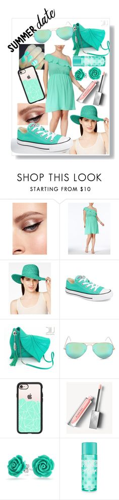 """""""💙Mint green💚Summer date💙"""" by majami05 ❤ liked on Polyvore featuring Monteau, Scala, Converse, Ray-Ban, Casetify, Burberry, Bling Jewelry and plus size dresses"""