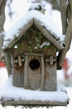 "Snow-covered Bird House by Pictures by Ann. ""The bird house was built by someone in Grand Marais several years ago. Bought it at the farmer's market in town."""