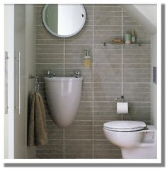 No main floor bathroom in a small house? No problem - neat solution for a compact bathroom. Lavatory Design, Washroom Design, Bathroom Ideas Uk, Bathroom Inspiration, Cloakroom Ideas, Compact Bathroom, Small Space Bathroom, Understairs Toilet, Faux Brick Wallpaper