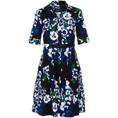 Samantha Sung Patricia Holland Master Print Stretch Cotton Poplin... (41.260 RUB) ❤ liked on Polyvore featuring dresses, floral, pleated midi dress, print dress, floral pattern dress, shirt dress and floral print dress