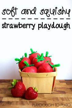 Homemade strawberry playdough. So squishy and soft. And the recipe's quick and easy too. Perfect for a summer afternoon.