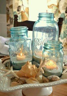Beach and mason jar