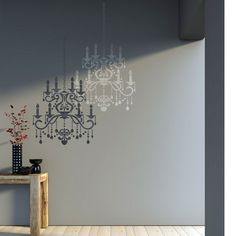 Wall Stencil Crystal Chandelier Template for por JboutiqueStencils