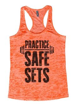 """Womens Tank Top """"Practice Safe Sets"""" 1103 Womens Funny Burnout Style Workout Tank Top, Yoga Tank Top, Funny Practice Safe Sets Top"""