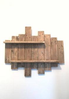 Painting / NATURE & ZEN by WoodAixpo pallet wood wall shelf - apartment Wooden Pallet Wall, Wooden Wall Shelves, Pallet Shelves, Wooden Walls, Wood Pallets, Shelf Wall, Wall Wood, Palettes Murales, Deco Zen