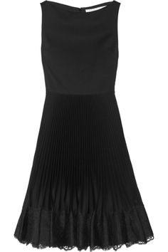 ValentinoLace-trimmed stretch-wool and cotton-blend dress