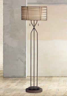 Marlowe Woven Bronze Metal Floor Lamp #farmhouseinteriordesignideas # farmhouselighting #lightfixtures #prettyfarmhousefinds
