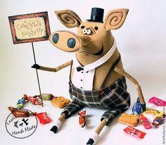 Купить Мистер Свин - свин, прикольная игрушка, интерьерная игрушка, авторская игрушка, забавный, прикольный