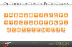 Outdoor Activity Pictograms by Clarke Design on Creative Market