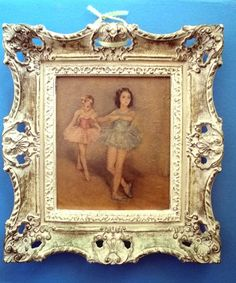 Ballerinas vintage French provincial Ornate Picture frame resin cream /gold #1 #FrenchCountryProvincial