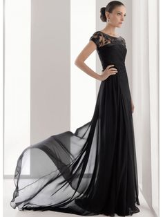 Black A-line Floor Length Chiffon Satin Evening Dress - if only i had a formal occasion to go to!