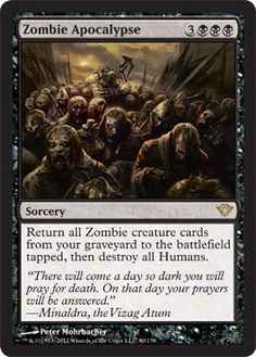 Magic: the Gathering - Zombie Apocalypse - Dark Ascension by Magic: the Gathering. Individuelle Papier des Spiels Magic: The Gathering (MtG) Sammelkartenspiel (TCG/GCC). Zombie Apocalypse, Magic The Gathering Karten, Mtg Decks, Writing Fantasy, Magic Cards, Wizards Of The Coast, Homestuck, Deck Of Cards, Card Games