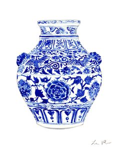 Blue and White China Ginger Jar Vase with Foo Dog Handles by Laura Row on Artfully Walls
