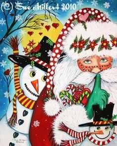 painted santas   SUE MILLER'S NEW SANTA PAINTING