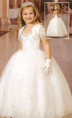 "First communion  I think this is a ""knock off"" website to get this dress:   dresshttp://www.ebuywedding.com/princess-spaghetti-straps-ball-gown-organza-first-communion-dresses_p6912.html"