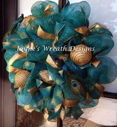 Peacock wreath in teal & gold with small peacocks and gold ornaments