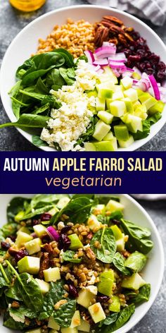 This autumn apple farro salad contains crunchy Granny Smith apples, pecans, dried cranberries, feta cheese, farro and spinach, all tossed in a tangy vinaigrette. The perfect way to celebrate apple season! #sweetpeasandsaffron #salad #apples #farro #holiday #sidedish Best Lunch Recipes, Veggie Recipes, Easy Dinner Recipes, Salad Recipes, Farro Salad, Couscous, Vegetarian Meal Prep, Vegetarian Recipes, Saffron Recipes