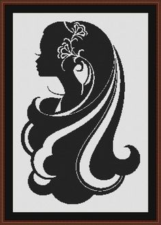 Pretty Lady with Long Hair Silhouette Black by InstantCrossStitch