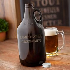 Personalized Amber Growler. Great for beer lovers