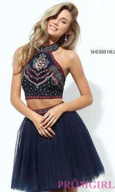 Image of two-piece short Sherri Hill homecoming dress. Front Image