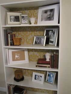 DIY book case with fabric backing