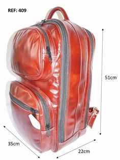 3702709ea mochilão gg 100% em couro legítimo. mochila completa