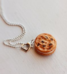 Chocolate Chip Cookie Sandwich Necklace by bookmarksnrings on Etsy, $10.00