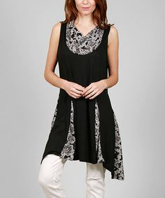 Look what I found on #zulily! Black & White Floral Contrast Cowl Neck Tunic #zulilyfinds