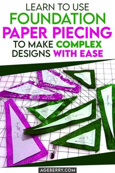 Looking for paper piecing instructions for beginner sewing projects? Learn foundation paper piecing technique. Paper piecing patterns look very beautiful and interesting and it's also a great way to get rid of scraps of your favorite fabrics. It also significantly speeds up the process of preparing blocks for quilts. I have included 2 free simple paper piecing patterns to download. Paper Piecing Patterns, Easy Sewing Patterns, Crochet Stitches Patterns, Sewing Tutorials, Sewing For Beginners Diy, Sewing For Dummies, Sewing Basics, Sewing Hems, Sewing Pockets