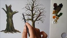 Best Ideas For Tree Trunk Painting Canvases Oil Tree Trunk Painting, Acrylic Painting Trees, Watercolor Painting Techniques, Acrylic Painting Techniques, Acrylic Canvas, Painting Videos, Painting Tips, Tree Paintings, Pencil Painting