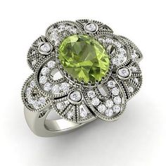 Peridot Engagement Ring in 14k White Gold with SI Diamond - 2.2 Ct