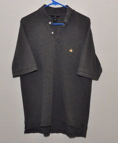 BROOKS BROTHERS Logo Gray Cotton Short Sleeve Shirt MENS LARGE 100% Cotton #BrooksBrothers #PoloRugby