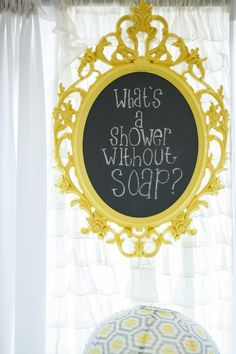 #signs, #chalkboard, #baby-shower, #yellow, #party-favor  Photography: Maya Myers Photography - mayamyers.com  Read More: http://www.stylemepretty.com/living/2014/01/06/smp-living-graphic-print-inspired-baby-shower/