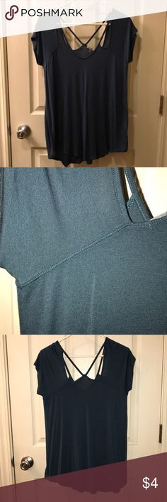 Turquoise cut-out top Turquoise blouse with shoulder and back cut-outs. Never worn. Size medium. Charlotte Russe Tops Blouses