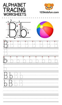 Alphabet Tracing Worksheets A-Z free Printable for Preschooler and Kindergartener. This Alphabet Tracing is a great activity for kids to practice letter recognition and handwriting skills. Printable letter B tracing worksheet. Free Printable Alphabet Worksheets, Letter Worksheets For Preschool, Abc Worksheets, Preschool Alphabet, Az Alphabet, Spanish Alphabet, Alphabet Crafts, Alphabet Print, Alphabet Writing Practice