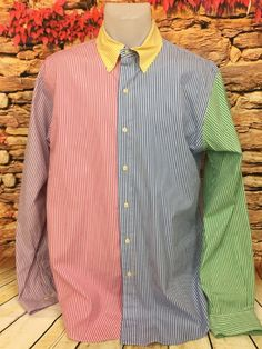 b95e5c1a357f0 Polo Ralph Lauren Mens Multi Color Striped Long Sleeve Dress Shirt Preppy  Size L  PoloRalphLauren