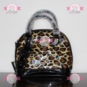 Mochila CHICA De Mano Loungefly Animal Print Color Dorado/Negro Hello Kitty